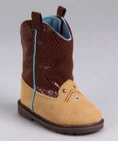 Tan & Chocolate Suede Cowboy Boot