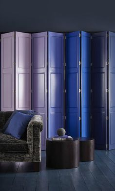Blues and purples are a wonderful colour combination, mixing dark shades and bright pastels adds a l. Interior Railings, Interior Shutters, Folding Screen Room Divider, Folding Screens, Room Dividers, Wooden Window Shutters, Made To Measure Blinds, Purple Interior, Window Dressings