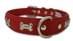 Special Offers - Leather Bones Dog Collar Padded Double-Ply  Riveted Settings 22 x 1 Red 100% Genuine Leather (Rotterdam Bones) Neck Size: 16.5  20 - In stock & Free Shipping. You can save more money! Check It (April 11 2016 at 10:33PM) >> http://dogcollarusa.net/leather-bones-dog-collar-padded-double-ply-riveted-settings-22-x-1-red-100-genuine-leather-rotterdam-bones-neck-size-16-5-20/