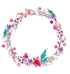 Watercolor flower wreath background vector- by Elmiko on VectorStock®