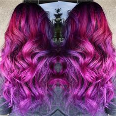 Gorgeous berry pink to rose to lavender and purple hair color color melt longhair colorful hair by Sydniiee O hotonbeauty.com