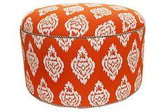 Round Damask Ikat Ottoman, Orange  Divine Designs