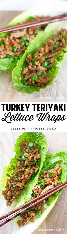 Use homemade, no sugar teriyaki - Turkey Teriyaki Lettuce Wrap recipe. Delicious and healthy dinner or lunch recipe Lettuce Wrap Recipes, Lunch Recipes, Vegetarian Recipes, Cooking Recipes, Healthy Recipes, Healthy Lettuce Wraps, Rice Recipes, Turkey Recipes, Chicken Recipes