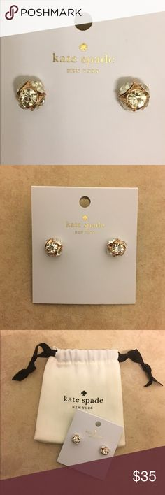 419014a93c7a Kate Spade Rose Gold Lady Marmalade Earrings NWT 14K rose gold-plated with  glass crystals