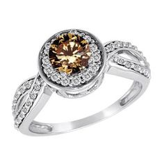 1 CT. T.W. Enhanced Fancy Champagne and White Diamond Framed Twisted Shank Ring in 14K White Gold - Zales
