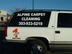 #vehiclegraphics #vehiclewraps #vehiclelettering #installationservices #vehiclegraphicsdesigns #SignaramaColorado #Signs #colorado Vehicle lettering for Alpine Carpet Cleaning