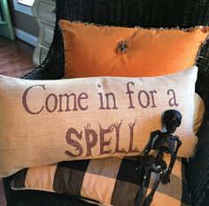halloween decor,halloween pillow,trick or treat,give thanks,fall pillow,witches,autumn leaf,fall decorations,happoween decorations,spooky - pinned by pin4etsy.com