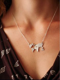 World Map Necklace $19.00