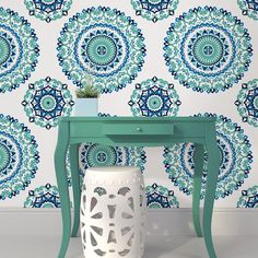 Wallpops Medallion Blue Green L Stick Wallpaper 5 5m W 52cm