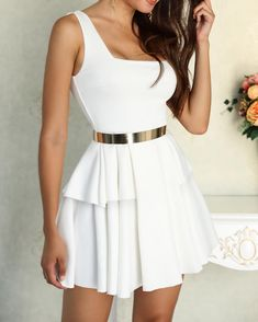 White Sleeveless Layered Pleated Mini Dress trendiest dresses for any occasions, special event dresses, accessories and women clothing. Elegant Dresses, Cute Dresses, Short Dresses, Dresses Dresses, Mini Dresses, Casual Dresses, Tee Dress, Belted Dress, Off Shoulder Lace Dress