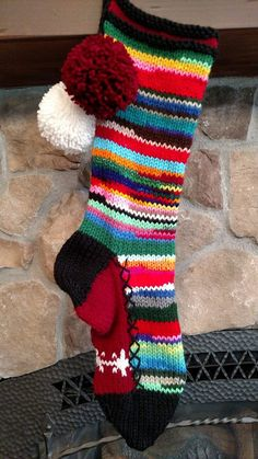 Old Fashioned Hand Knit Christmas Stocking White Snowflakes Burgundy Red Rainbow Stripe Rag Series