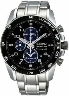 Genuine SEIKO - Mens Sportura chronograph black dial watch - SNAE63P1 - RRP £350 | eBay