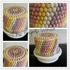 Double height marble cake. Covered in mini eggs. Www.thepurplewhisk.co.uk