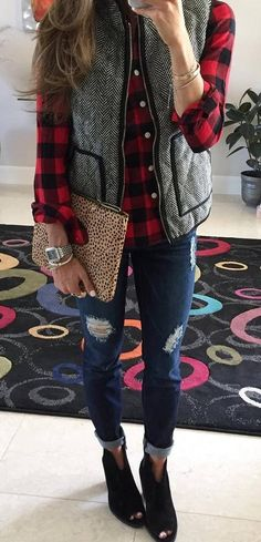 casual winter outfit / plaid shirt + vest + bag + rips + boots