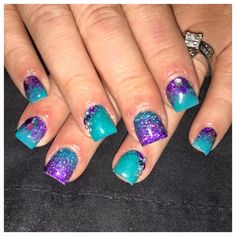 teal and purple glitter nails