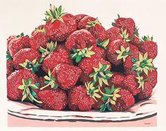Handmade screen print painting Strawberrie still life serigraph screenprint…