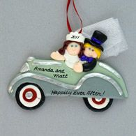 Bride and Groom Just Married Personalized Christmas Ornament