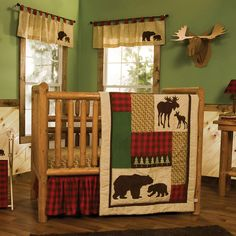 Give your nursery a cozy cabin feel with Trend Lab's Northwoods 3-Piece Crib Bedding Set. Printed and appliqued bear and moose silhouettes are featured alongside embroidered pine trees, printed wood grain, and classic buffalo check. Deep red and chocolate brown are mixed with oak, flax and clover green. Set includes: Reversible quilt, skirt and sheet. Reversible quilt measures 35 inches x 45 inches and features patches of lovely textural fabrics including flannel buffalo check, clover green…