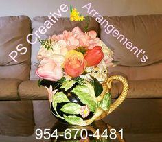 Design #2 *For Sale* 20% off with review Hydrangea, Rose, and Tulip Silk arrangement handcrafted by #PSCreativeArrangements in a 1986 Fitz and Floyd Tea Pot. **For sale ** #Flowers #Monkey #sale #MaisonandObjet #Floralarrangement #interiordesignideas #flowerarrangement #roses #hydrangeas #tulips