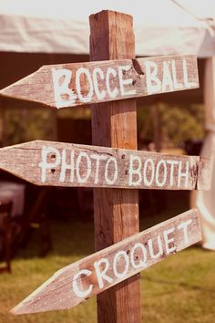 Sooo cute!  love the signs and fun things to do at the wedding outside :)