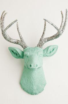 Seafoam Green Faux Deer Head W/ Silver Glitter | The Agnes Faux Taxidermy Decor