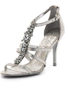 SILVER DIAMANTE LOW MID HEEL PROM EVENING WEDDING SHOES SANDALS ...