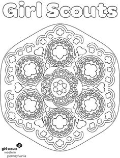 """Adult coloring sheets - Girl Scout-style! Troop leaders and volunteers can print these out, grab some colored pencils and enjoy some much-deserved """"me time."""" Or, finished sheets would make a cute Volunteer Appreciation gift from the girls!"""