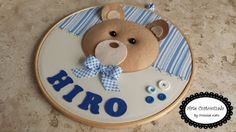 Arte Customizada by Priscila Kato: Quadro Porta Maternidade Bastidor Urso!!!