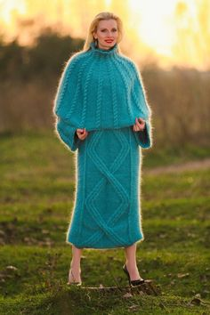 NEW hand knit mohair sweater dress and fuzzy soft cape in teal green SUPERTANYA | eBay