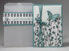 www.dreamingaboutrubberstamps.com - Sheer Perfection Mini Treat Bag and Card in Lost Lagoon - Use a Mini Treat Bag Thinlit from Stampin'  UP! in place of an envelope for this Sheer Perfection Vellum card and bag set featuring the 2014-2016 In Color Lost Lagoon