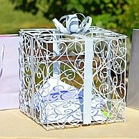 White scroll reception card holder with metall ribbon, bow and gift tag accents