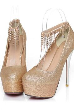 6f3eb438e753 Rhinestone Charmed Metallic High Heel Shoes In 3 Colors Gold Heels
