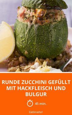 Runde Zucchini gefüllt mit Hackfleisch und Bulgur