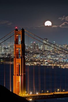 Golden Gate Bridge - Fullmoon - San Francisco - CA by Dominique  Palombieri on 500px