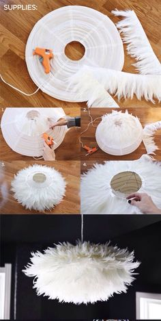Fantastic DIY Chandelier Tutorials and Ideas for Decorating on a Budget DIY Chic White Feather Chandelier. This feather chandelier really tops off the look and feel of this dining space. Diy On A Budget, Decorating On A Budget, Home Crafts, Diy And Crafts, Diy Y Manualidades, Diy Chandelier, Chandeliers, Outdoor Chandelier, Chandelier Creative