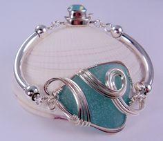Tumultuous Tides II ~ Large Turquoise Sea Glass Bracelet!  ©2014