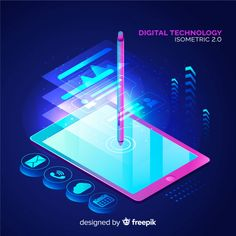 Digital technology background in isometric style Free Vector Pinturas Disney, Software, Isometric Design, O Design, Graphic Design, Technology Background, Gadgets And Gizmos, Program Design, New Technology