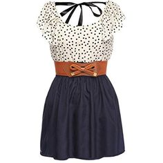 Zeagoo Women's Fashion High Waist Casual Dots Short Dress with Belt ($15) ❤ liked on Polyvore featuring dresses, high waist dress, short dresses, polka dot dress, belted dress and belt dress