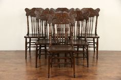 Set of 6 Antique 1900's North Wind Carved Pressback Dining Chairs #AntiqueNorthwindChairs