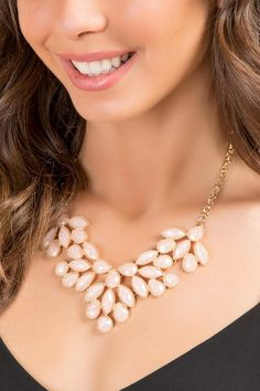 Vera Statement Marquis Necklace- Pale Pink model