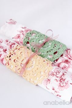 Anabelia craft design: Shabby-chic inspiration crochet doilies at home this season