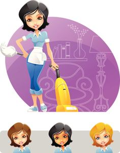 Hi-Res Clip Art Vector Illustration (EPS) of Maid or Cleaning Girl holding duster and vacuum cleaner Cleaning Company Logo, Cleaning Service Logo, Cleaning Flyers, Cleaning Companies, Cleaning Business, Diy Cleaning Products, House Cleaning Cost, Cleaning Maid, Cleaning Hacks