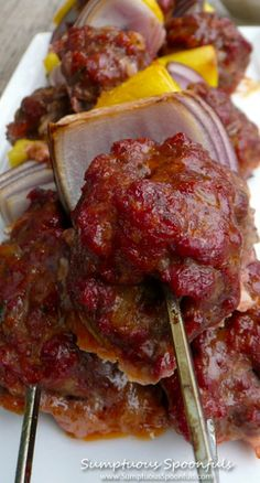Pineapple Bacon Meatball Kebabs with Spicy Dijon Maple Dipping Sauce by sumtuousspoonfuls #Kebabs #Meatball #PIneapple