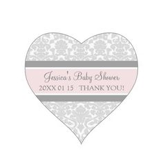 Gray Blush Damask Baby Shower Favor Stickers