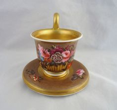 RARE SPODE BELL SHAPE MINIATURE CUP  SAUCER-BASKET OF FLOWERS  INSECT-c1810