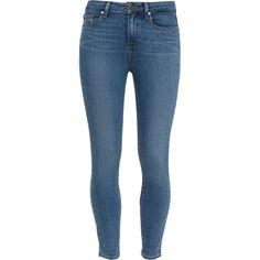 Paige Denim Brett Hoxton Mid-Rise Skinny Jeans ($280) ❤ liked on Polyvore featuring jeans, paige denim, pants, skinny leg jeans, light wash jeans, slim jeans, winter boots and light wash skinny jeans