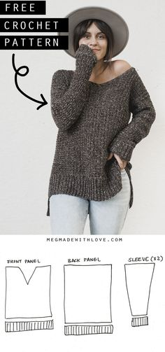 Crochet The Home Girl Sweater - Crochet Sweater Pattern ****You can shop the PDF version. Love, Home Girl Sweater - Crochet Sweater Pattern ****You can shop the PDF version. The Home Girl Sweater - Crochet Sweater Pattern ****You can shop t. Pull Crochet, Mode Crochet, Easy Crochet, Knit Crochet, Crochet Granny, Doilies Crochet, Tunisian Crochet, Crochet Shrugs, Patron Crochet