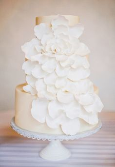 Striking rose petal wedding cake; click to see more gorgeous cakes; via Sugar Bee Sweets Bakery