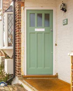 Green front door with textured obscure glass - Cotswood Doors Cottage Front Doors, Green Front Doors, House Front Door, Front Door Colors, Glass Front Door, House Doors, Front Door Decor, Sliding Glass Door, Painted Doors
