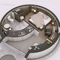 🇧🇷 Que tal uma casa redonda? 🤔/ 🇺🇲 How about a round house? 🤔/ 🇪🇸 ¿Qué tal una c… Tiny House Design, Modern House Design, Home Design, Design Ideas, Layout Design, Design Art, Dorm Room Organization, Organization Ideas, Dome House
